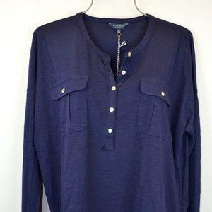 Lucky Brand Women's XL Blue Bohemian Shirt Top